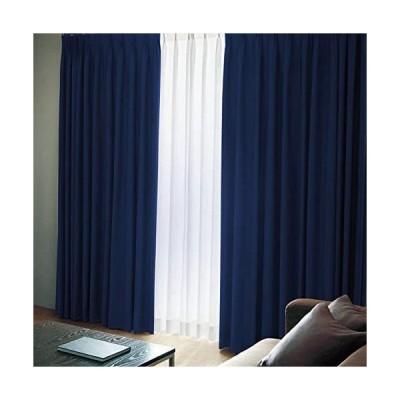 窓美人 エール 遮光性カーテン&UVカットミラーレース ロイヤルブルー(カーテン2枚/レース2枚)