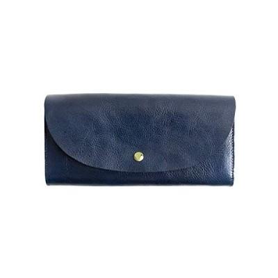 [ラフィカロ] 長財布 レディース 本革 イタリアンレザー 大容量なのに薄い 財布 フラップボタン 小銭入れ カードケース かぶせ 無地(ネイビー)