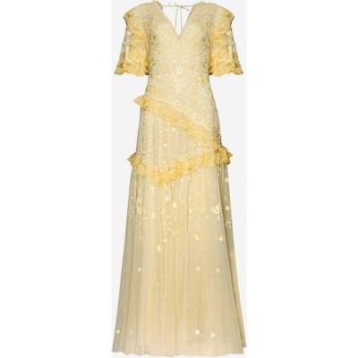 ニードル アンド スレッド NEEDLE AND THREAD レディース パーティードレス Earth Garden floral-embroidered recycled tulle gown DAFFODIL