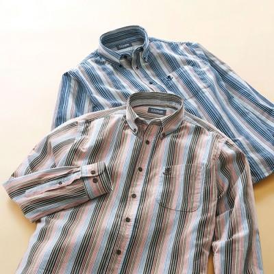 ベルーナ 【2色組】<U.Pレノマ>華やかストライプ柄コーデュロイシャツ 1 M メンズ