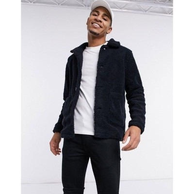 フレンチコネクション メンズ ジャケット&ブルゾン アウター French Connection fleece jacket in navy Solid marine