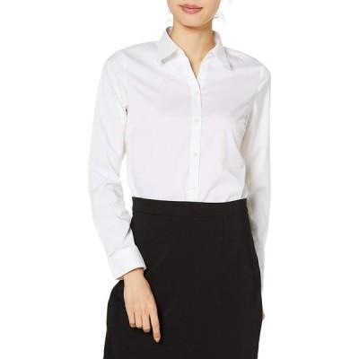 [セシール] シャツ 長袖 出張 コンパクト ストレッチ 収納袋つき 形態安定 吸汗速乾 UVカット レディース ホワイト 3L