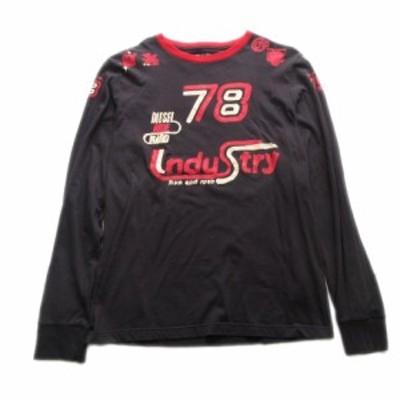 【中古】ディーゼル DIESEL ペイント風 プリント Tシャツ カットソー 長袖 ロゴ ナンバリング 大きいサイズ XL 黒