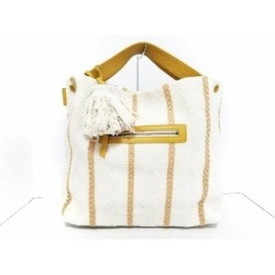 パピヨネ PAPILLONNER トートバッグ レディース - 白×ダークイエロー コットン×レザー【中古】20200602