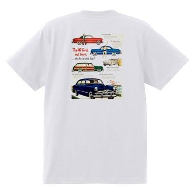 アドバタイジング フォード Tシャツ 白 1072 黒地へ変更可 1949 ビクトリア クレストライナー シューボックス f1 ホットロッド ロカビリー