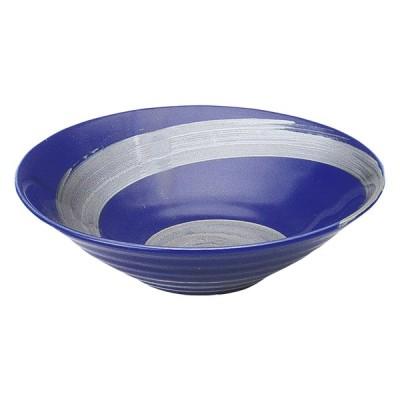 美濃焼 銀彩ブルー リップル7.0鉢 食器 日本製 プレート カレー パスタ 盛皿 和風 D-23.2 H-6.4(cm)