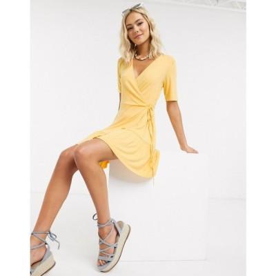 エイソス ASOS DESIGN レディース ワンピース ラップドレス ミニ丈 ワンピース・ドレス wrap mini dress in buttermilk バターミルク