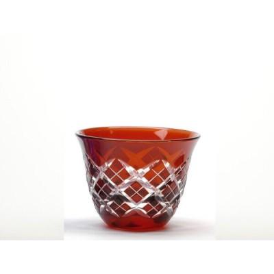 伝統の江戸切子  重矢来文様 ぐい呑 アカ  杯   盃   冷酒   日本酒  33914   M-51-R