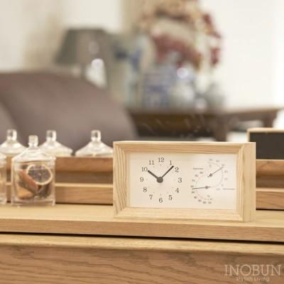 レムノス Lemnos PLAIN FRAME 温湿度計付 置時計 ナチュラル