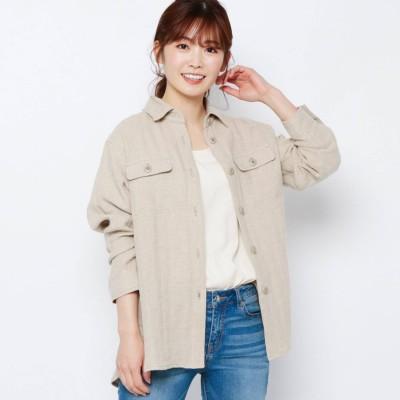 エアパペル AIRPAPEL 【ハンドウォッシュ】麻ヘリンボンシャツジャケット (ベージュ)