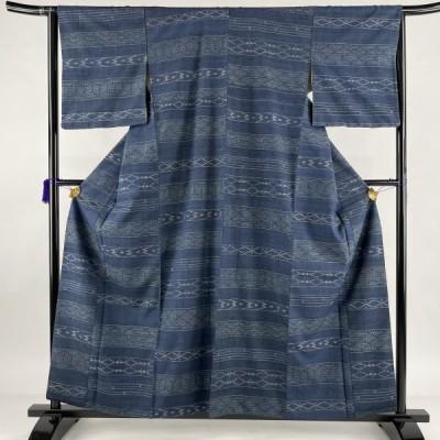 在庫一掃 紬 秀品 横段 幾何学 藍色 袷 158cm 64cm M 正絹 中古