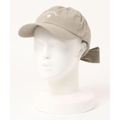 帽子 キャップ 【CONVERSE/コンバース】リボンツイルキャップ ローキャップ バックリボン ワンポイントブランドロゴ刺繍