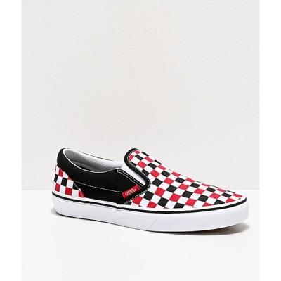 ヴァンズ VANS レディース スケートボード スリッポン シューズ・靴 slip-on red, black & white checkered skate shoes Black