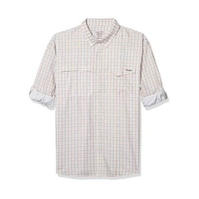 HUK メンズ タイドポイント 編み フィッシュ格子縞 長袖シャツ 3XLarge ピンク
