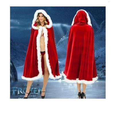 コスプレ コスチューム サンタ コート フード付き ファー付き 切り替え 肩掛け 防寒 トップス アウター レッド フリーサイズ