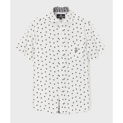 シャツ ブラウス イレギュラードットパターンプリント 半袖シャツ