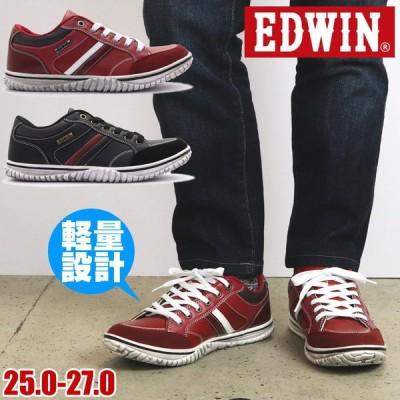 即納 スニーカー メンズ [エドウィン] EDWIN  軽量 カジュアルシューズ ヴィンテージデザイン 紐靴 No.7537