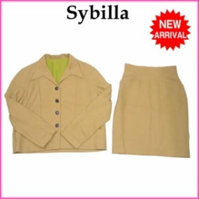 シビラ スーツ タイトスカート テーラージャケット 4つボタン マスタード×ブラウン Sybilla 中古 A758