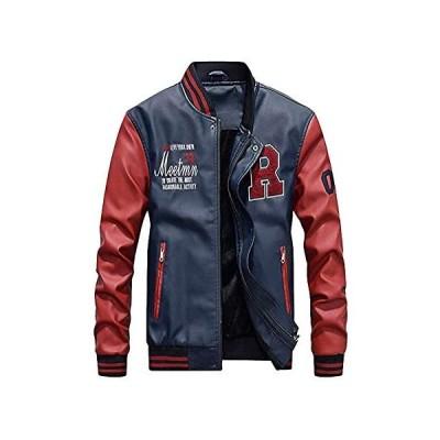 [マインサム] スタジャン メンズ コート トップス 合皮 ライダース ジャケット 大きいサイズ 冬 革 服 裏起毛 防寒 (ブルー 2XL)