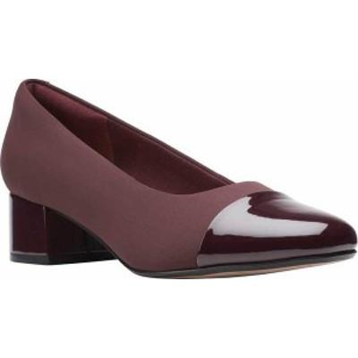 クラークス レディース パンプス シューズ Women's Clarks Marilyn Sara Cap Toe Pump Burgundy Combination Textile/Patent