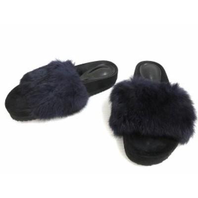 【中古】Very Very Shoes フェイクファー サンダル 22.5 ブラック パープル系 シューズ 靴 レディース