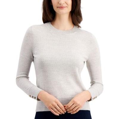 チャータークラブ Charter Club レディース ニット・セーター トップス Button-Sleeve Sweater French