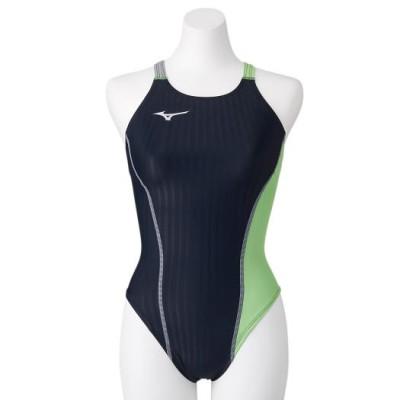 ミズノ 競泳練習用エクサースーツUP ミディアムカット[レディース] 93ブラック×ライム L スイム 競泳水着 エクサースーツ(練習用水着) N2MA0760