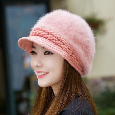 帽子 レディース キャスケット ハット 女性用 キャップ ハンチン 帽 つば付き 裏起毛 防寒  冬 冬物 小顔効果