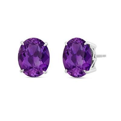 Nicole Miller Fine Jewelry - Sterling Silver with 10x8mm Oval Cut Amethyst Stud Earrings【並行輸入品】