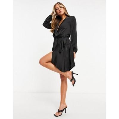 クラブエル ロンドン レディース ワンピース トップス Club L midi satin wrap dress in black