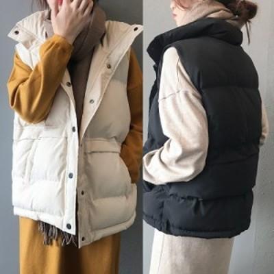 ベスト ダウンベスト アウター あったか 防寒 カジュアル きれいめ 大人 レディース 無地 シンプル ブラック ホワイト 袖なし