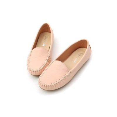 【D+AF】ソフトモカシンシューズ(牛革) ピンク