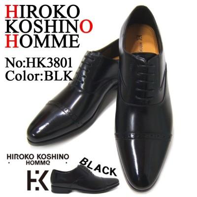HIROKO KOSHINO/ヒロコ コシノ ビジネス 紳士靴 HK-3801 ブラック ストレートチップ  内羽根 3Eワイズ ビジネス フォーマル 送料無料