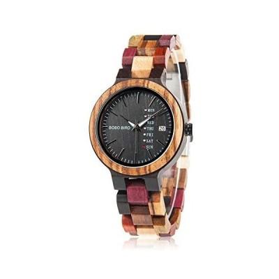 BOBO BIRD レディース 木製腕時計 カラフル 木材 腕時計 デイデイト表示 多機能 手作り クォーツ時計 スポーツ(レディース メンズ)