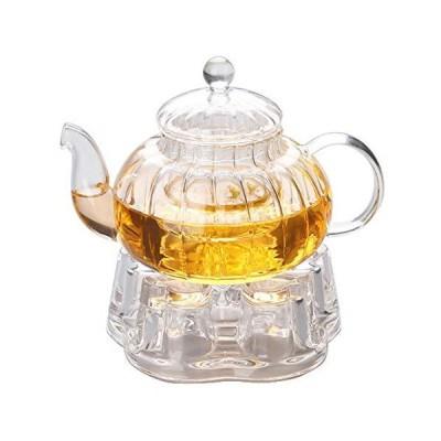 IwaiLoft 癒し 耐熱ガラス ティーポット 茶こし付き ガラス 急須 保温 キャンドルウォーマー ティーウォーマン セット ティーフォ