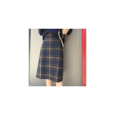 スカート チェック柄 レディース ロング丈 膝丈スカート ラシャスカート 厚手 学生 通学 ハイウエスト 秋冬新作 大きいサイズあり
