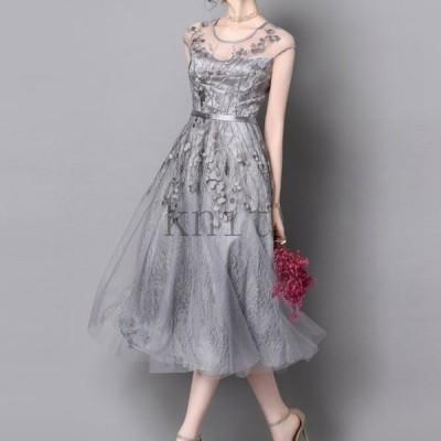 パーティードレス結婚式ワンピースノースリーブ刺繍シルバードレス袖なしフォーマル膝下ロング丈花柄シースルー