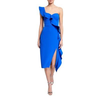 アイダン マトックス レディース ワンピース トップス Asymmetric Ruffle One-Shoulder Crepe Dress