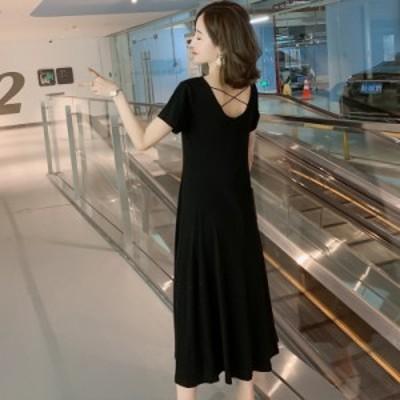 マキシワンピース 夏 20代 30代 40代 体型カバー マタニティーワンピース 綿100% ゆったりサイズ 背中見せ お出かけ