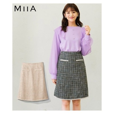 スカート ミニ 大きいサイズ レディース パール調 ビーズ使い ツイード 台形 MIIA 73/76/80 ニッセン nissen