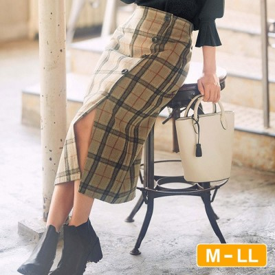 GeeRA 【M~LL】ラップ風チェック柄ナロースカート ブルー M レディース