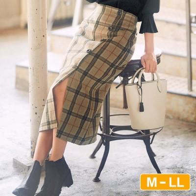GeeRA 【M~LL】ラップ風チェック柄ナロースカート  LL レディース