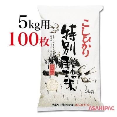 米袋 和紙・雲竜柄 ふるさと特別栽培米こしひかり 5kg用×100枚