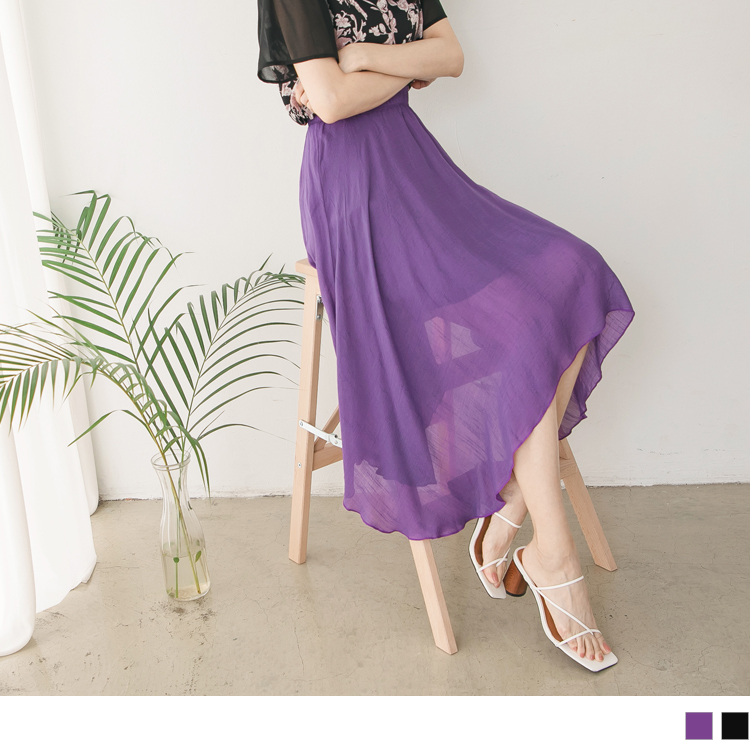純色涼爽腰鬆緊不規則下擺雙層內裡中長裙/過膝裙