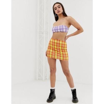 ジェイディッド ロンドン Jaded London レディース ミニスカート ラインストーン festival check mini skirt with rhinestone detail オレンジチェック