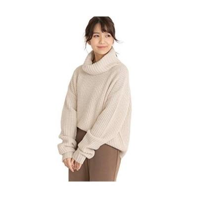 アドティエ オフタートルニット 畦編み シンプル オーバーサイズ 長め袖 タートル 袖くしゅ ゆったり 11105001アイボリF