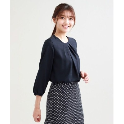 TRANS WORK/トランスワーク 【ウォッシャブル】カットソーコンビプルオーバー ネイビー3 38
