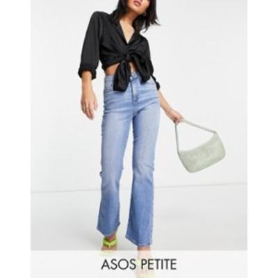 エイソス レディース デニムパンツ ボトムス ASOS DESIGN Petite high rise 'Y2K' stretch flare jeans in midwash Midwash