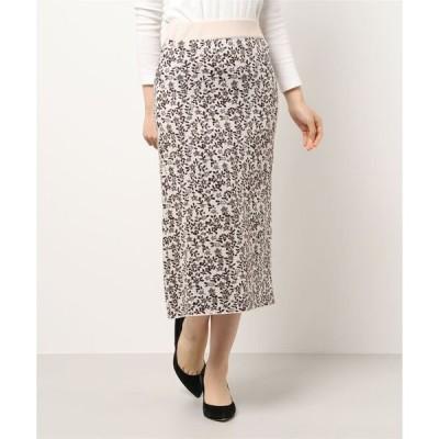 スカート 花柄ニットタイトスカート
