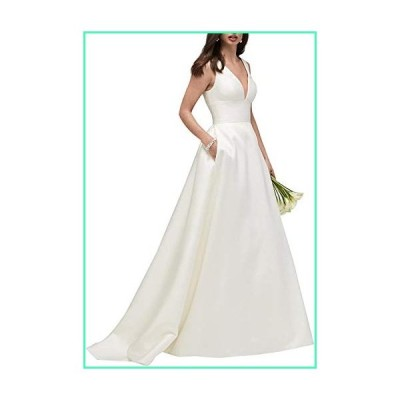 Vanessawedding Women's Sexy Deep V Neck Satin Empire Wedding Dresses for Bride A Line Bridal Gowns Princess White並行輸入品